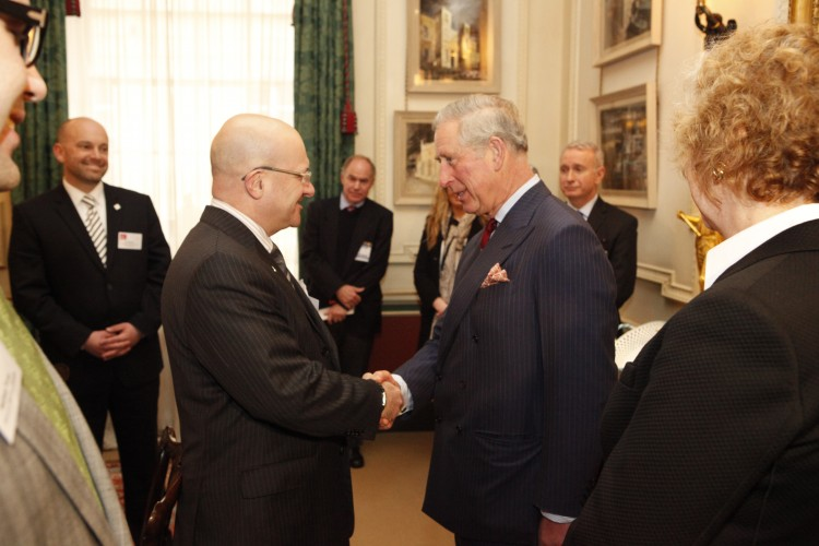 HRH The Prince of Wales greets WI CEO Rick Blickstead during a private audience at Clarence House in London.