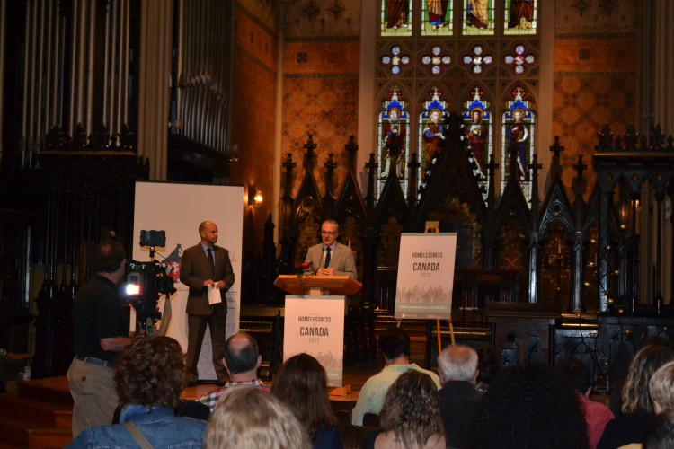 York University Prof. Steve Gaetz of the Canadian Homelessness Research Network speaks at the launch of the Canadian homelessness report card, while Tim Richter, CEO of the Canadian Alliance to End Homelessness, looks on. The launch of the powerful new research and policy report was at the Church of the Holy Trinity in downtown Toronto.