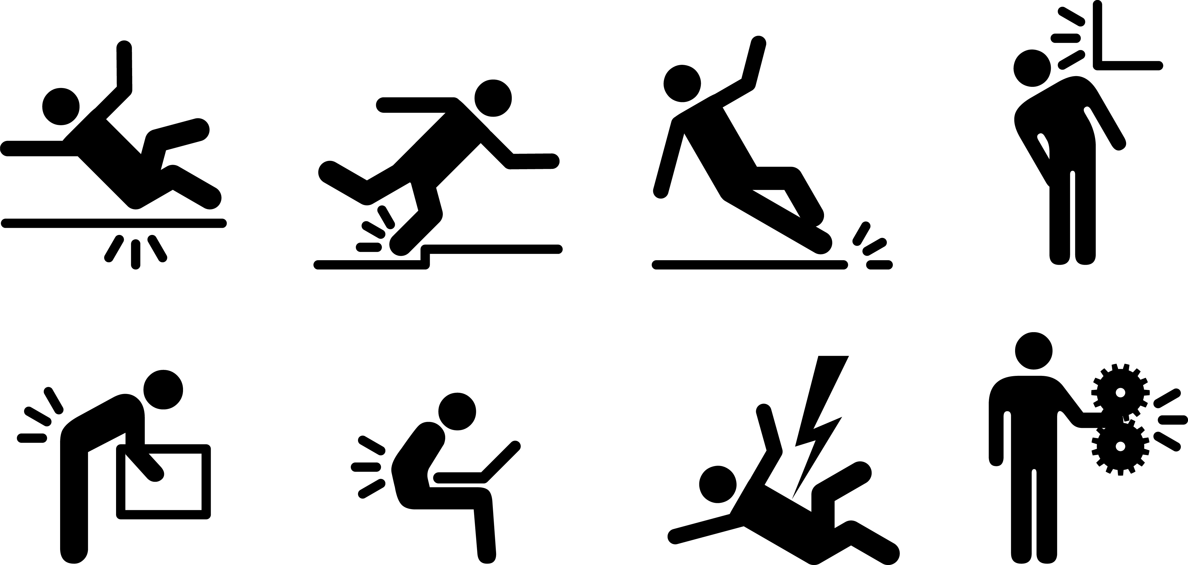 Black and white photo of stick figures mimicking different kinds of accidents