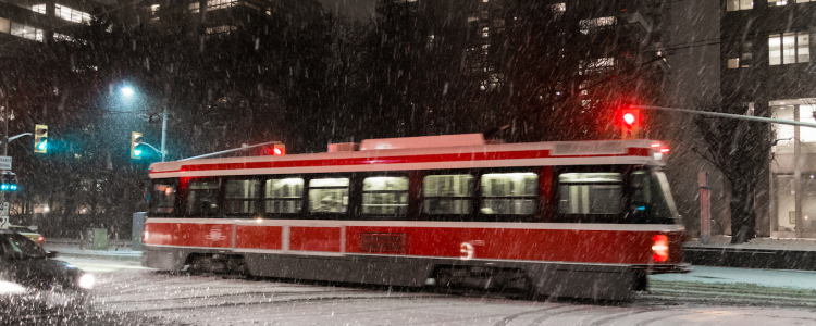 TTC Street Car in the stormy winter weather