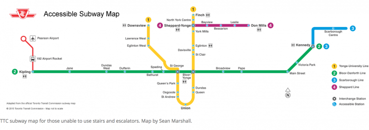 TTC Map with Accessible stations highlighted