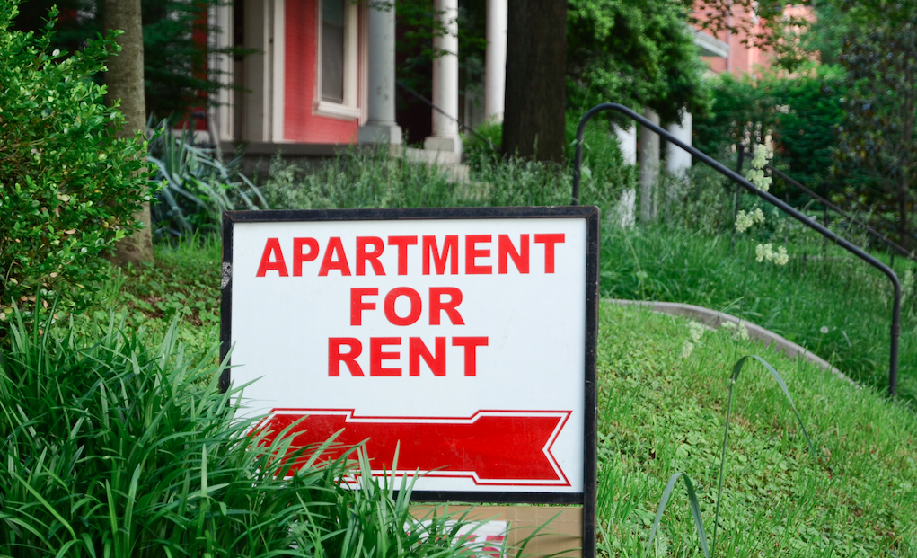 For rent sign on a lawn