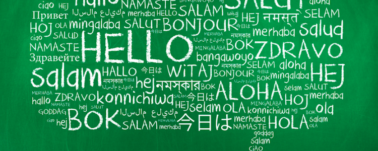 speech bubble of hellos in different languages