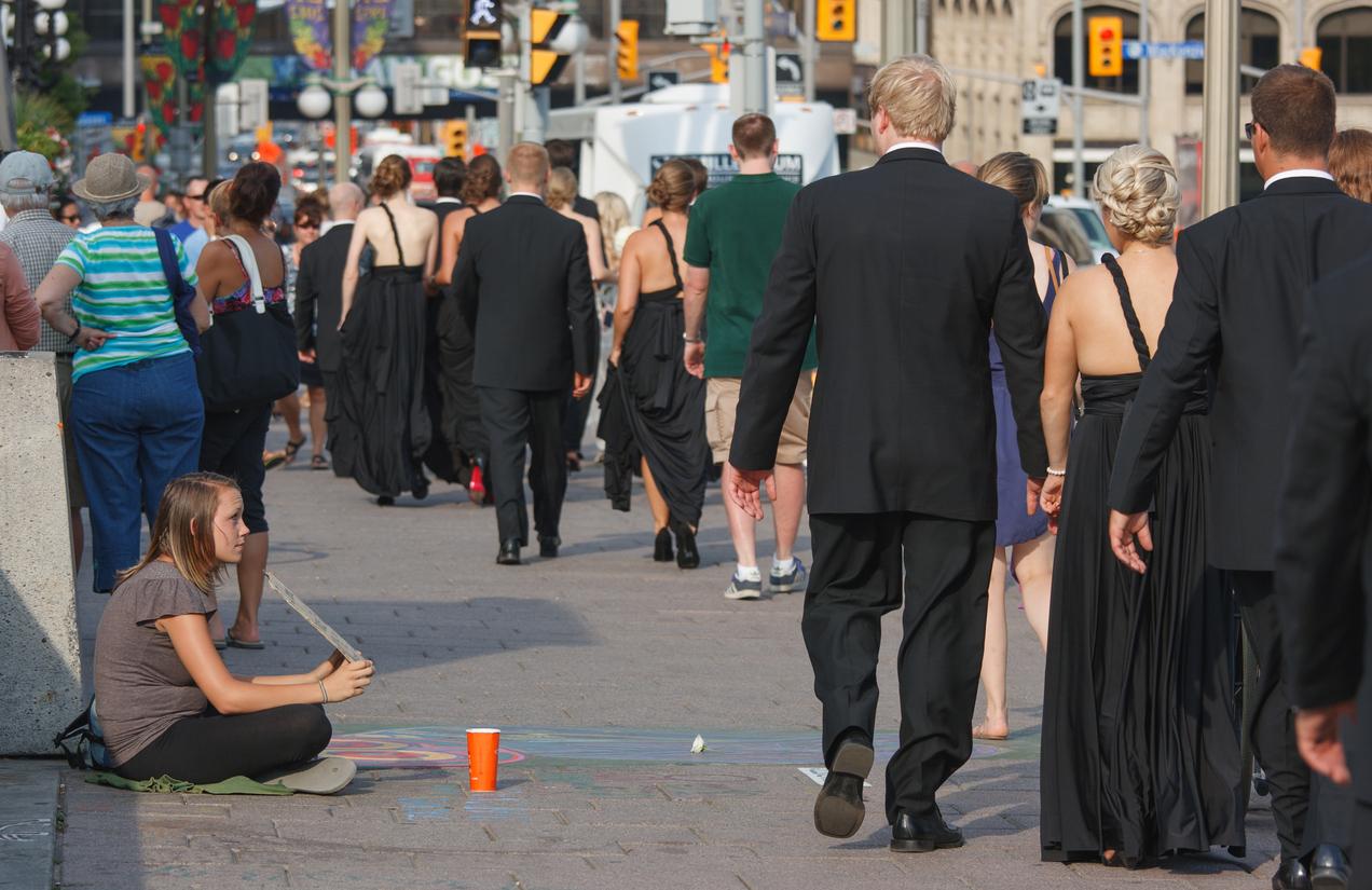 Wedding Walking Past Panhandler