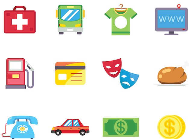 Cartoon icons representing goods and services