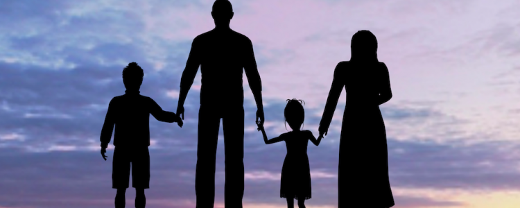 Refugee family sillouette