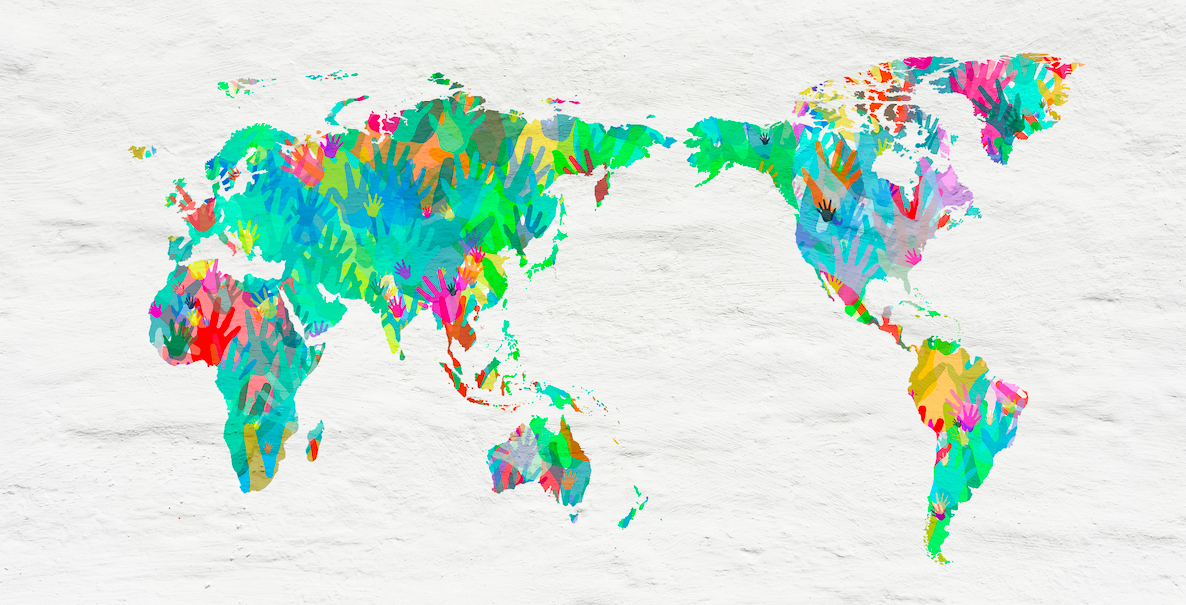 World map with hands in different colours