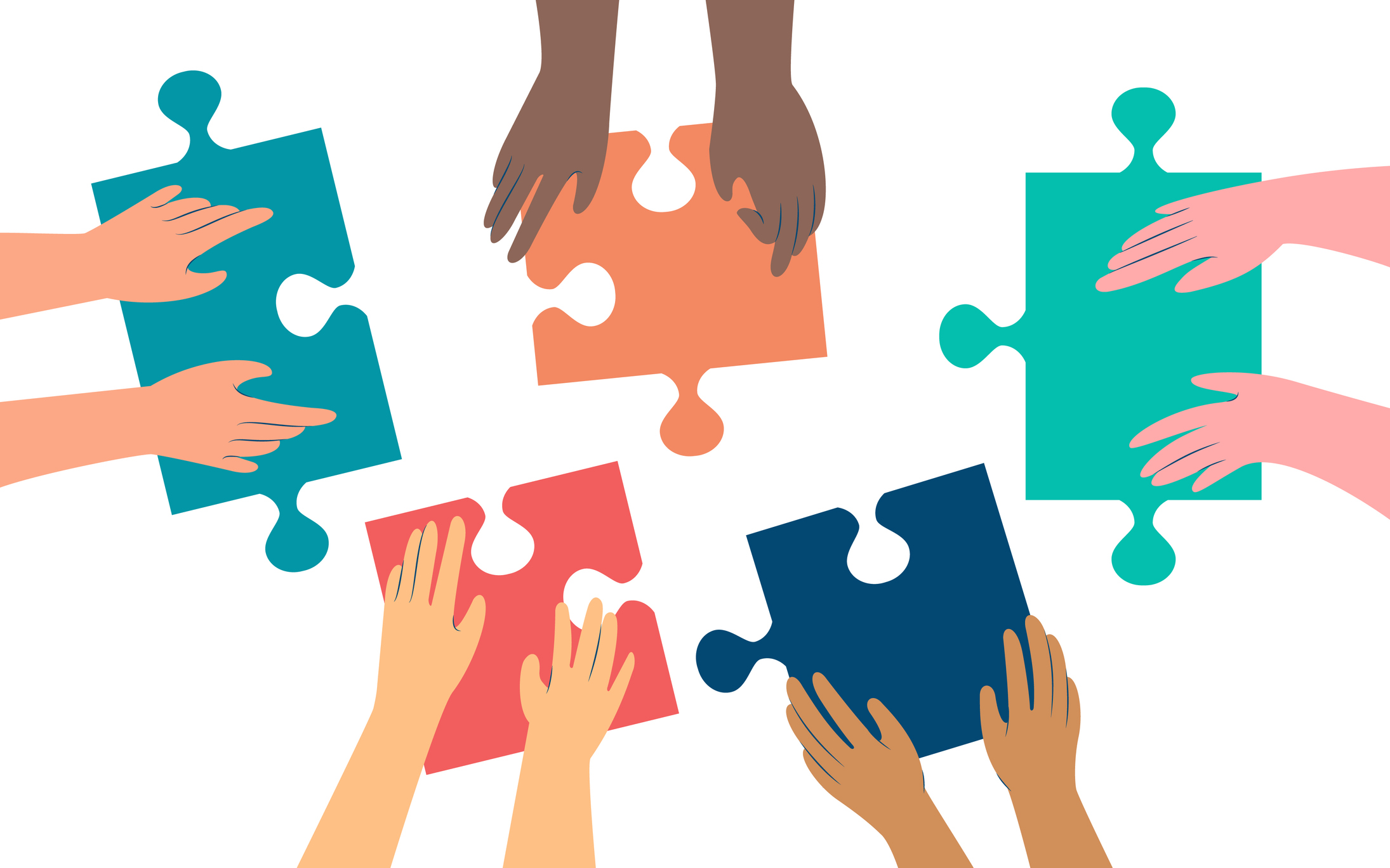Five pairs of hands of diffirent skin colors moving in puzzle pieces. Working together to solve a problem. Flat style illustration, isolated on white background, top view.
